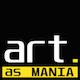 logo for art as mania white and yellow on a black background